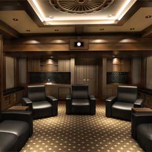 library hides stunning secret home theater cinema design