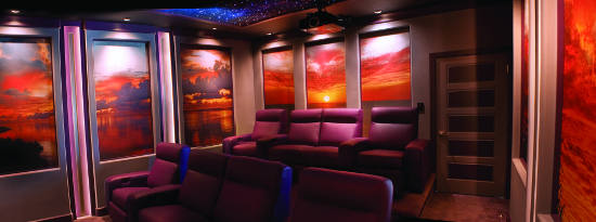 Home Theater Walls Serve Up Stunning Sunset